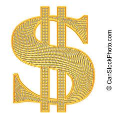 黃金, 美元符號, incrusted, 由于, 鑽石