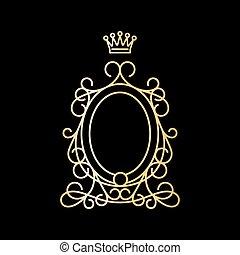 黃金, 葡萄酒, 橢圓的框架, 由于, 王冠