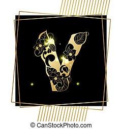 黃金, 裝飾, 字母表信, v, 洗禮盆