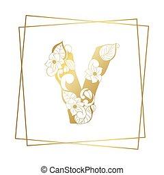 黃金, 裝飾, 字母表信, v, 白色, 洗禮盆