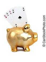 黃金, 豬一般的銀行, 由于, 卡片