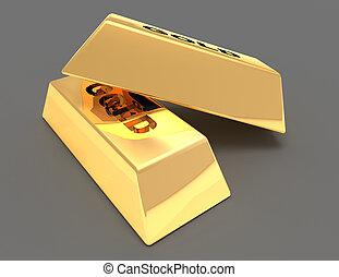 黃金, 酒吧, 概念, .3d, 插圖, 提供