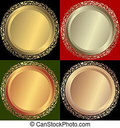 黃金, 銀色, 以及, 青銅, 盤子