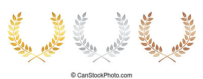 黃金, 銀, 以及, 青銅, 褒獎, 月桂樹 花圈, 被隔离, 在懷特上, 背景, ., 胜利者, 葉子, 標簽, 符號, ......的, victory., 插圖