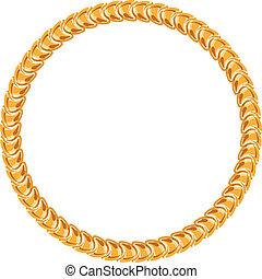 黃金, 鏈子, 框架, -, 背景, 白色, 輪