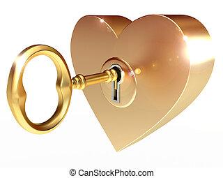 黃金, 鑰匙, 打開, 心