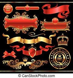 黃金, 集合, 皇家, -, 元素, 矢量, 設計