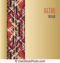 黃金, 風格,  Deco, 藝術,  outline, 黑色, 背景, 紅色, 設計