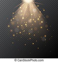 黃金, 魔術, effect., 光, bokeh, 矢量, 透明, 發光