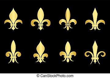 黃金, 鳶尾花形的紋章, 集合, 黑色的背景