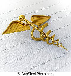 黃金, caduceus, 上, ecg, -, ekg, 紙, -, 醫學的概念, 插圖