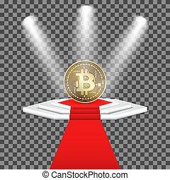 黃金, carpet., 照明, 被隔离, bitcoin, cryptocurrency, 背景。, 指揮臺, 矢量, 硬幣, 透明, 紅色