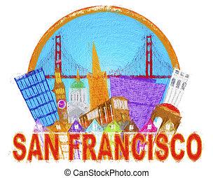 黃金, francisco, san, 橋梁, 摘要, 地平線, 印象主義家, 門