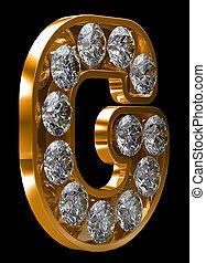 黃金, g, 信, incrusted, 由于, 鑽石