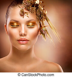 黃金, makeup., 豪華, 時裝, 女孩, 肖像