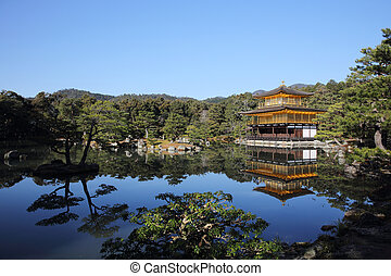 黃金,  pavilion),  (the,  kinkakuji, 京都, 日本, 寺廟