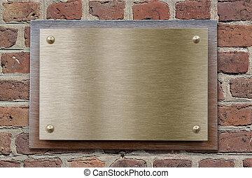 黃銅, 或者, 青銅, 金屬盤子, 上, 磚牆
