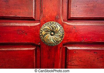 黃銅, 門把手, 以及, 紅的門