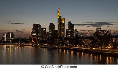 黄昏, frankfurt, 城市地平线
