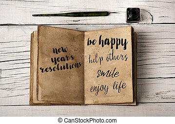 黄色がかった, resolutions, ノート, 元日