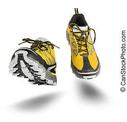 黄色のくつ, 隔離された, スポーツ, 動くこと, 白