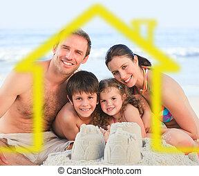 黄色の家, イラスト, 浜, 家族