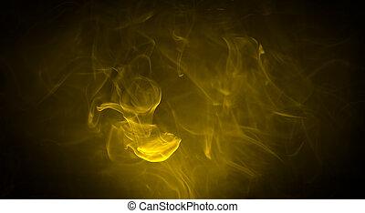 黄色の煙, 暗やみに, 上に, 黒い背景