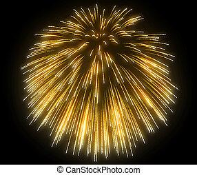 黄色, お祝い, 花火, 夜で