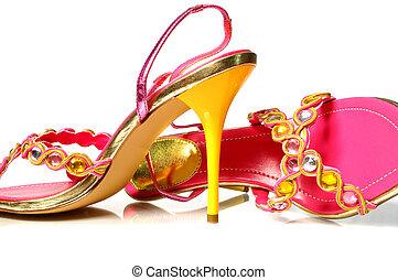 黄色, かかと, 靴