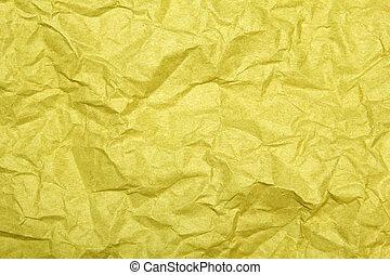 黄色, しわにされたペーパー, 背景