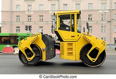 黄色, アスファルト, 舗装, 機械