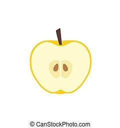 黄色, アップル, 切口, デザイン, 平ら, アイコン