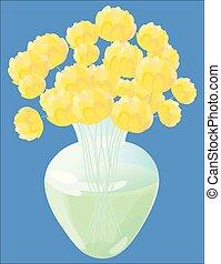 黄色, ガラス, 花, つぼ, 花束