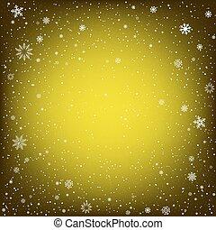 黄色, クリスマス, 背景, 雪