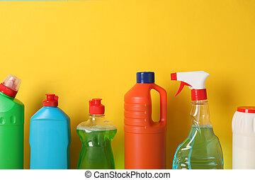 黄色, スペース, びん, 洗浄剤, 背景, グループ, テキスト