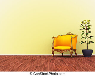 黄色, ソファー