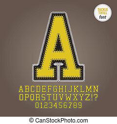 黄色, タックル, twill, アルファベット, そして, ディジット, ベクトル