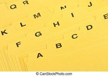 黄色, ファイル, 仕切り