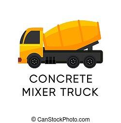 黄色, ミキサー, ベクトル, トラック, コンクリート, 隔離された, アイコン