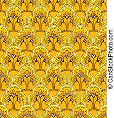黄色, レトロ, 背景, seamless