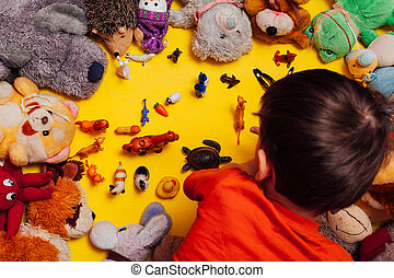 黄色, ロット, 背景, おもちゃ, ゲーム, 開発, 子供, 子供