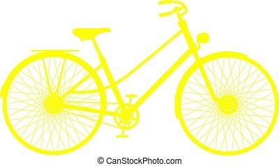 黄色, 侧面影象, 在中, retro, 自行车