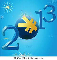 黄色, 元, 符号, 在中, 2013, 新年