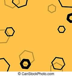 黄色, 六角形, 抽象的, ハチの巣, 背景