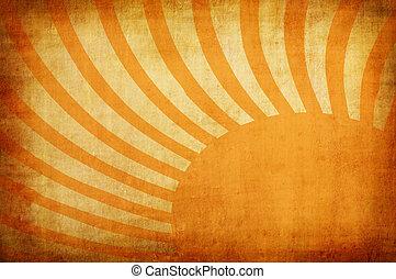 黄色, 型, グランジ, 背景, ∥で∥, 太陽は放射する