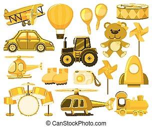 黄色, 大きい, オブジェクト, セット, 別