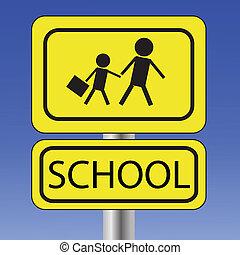 黄色, 学校, 印