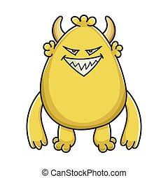 黄色, 小悪魔, 漫画, モンスター, 悪