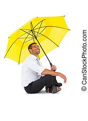 黄色, 床, 傘, ビジネスマン, モデル