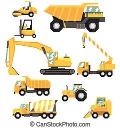 黄色, 建設, 自動車, そして, 機械類, セット, の, カラフルである, 車, 中に, 現実的, デザイン,...
